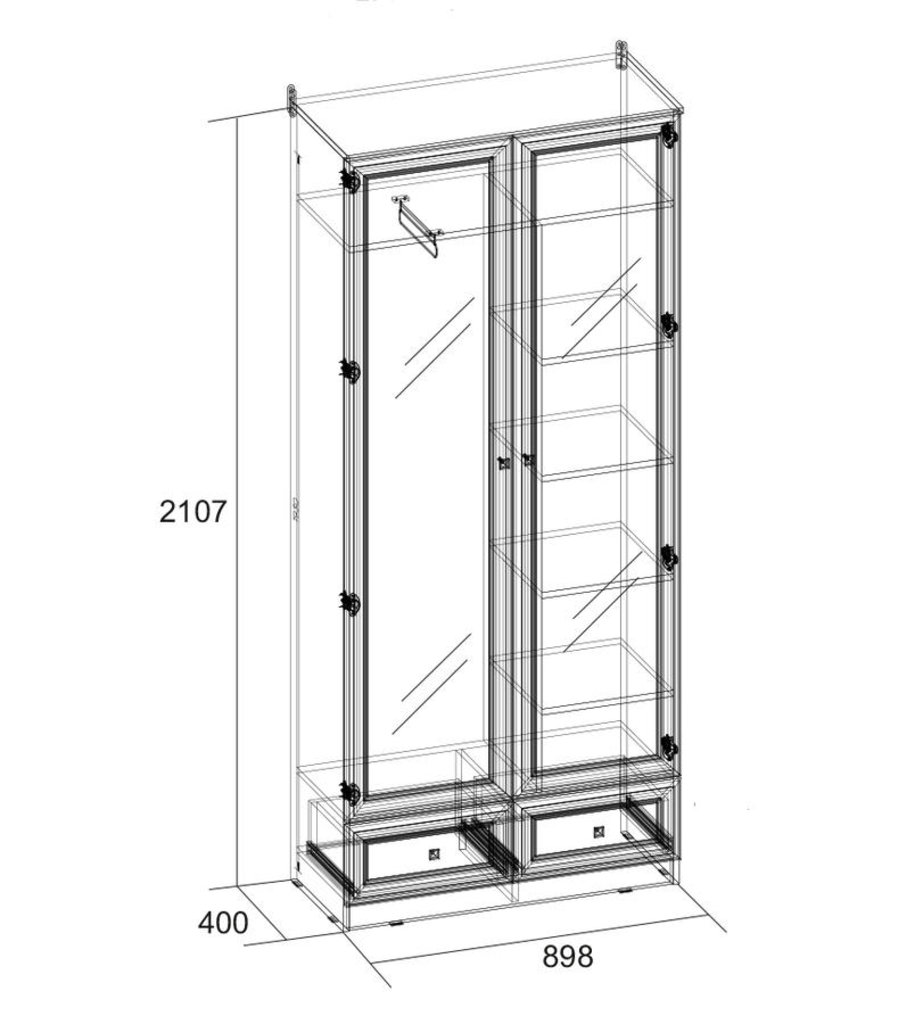Шкафы для прихожих: Шкаф для одежды и белья PAOLA 74 (Зеркало) в Стильная мебель