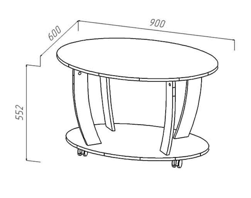 Журнальные и кофейные столики: Стол журнальный овальный (Линаура) в Стильная мебель