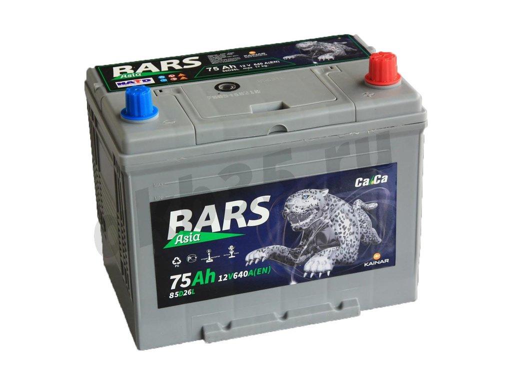 Аккумуляторы: BARS 75 А/ч Обратный Азия 85D26L в Планета АКБ