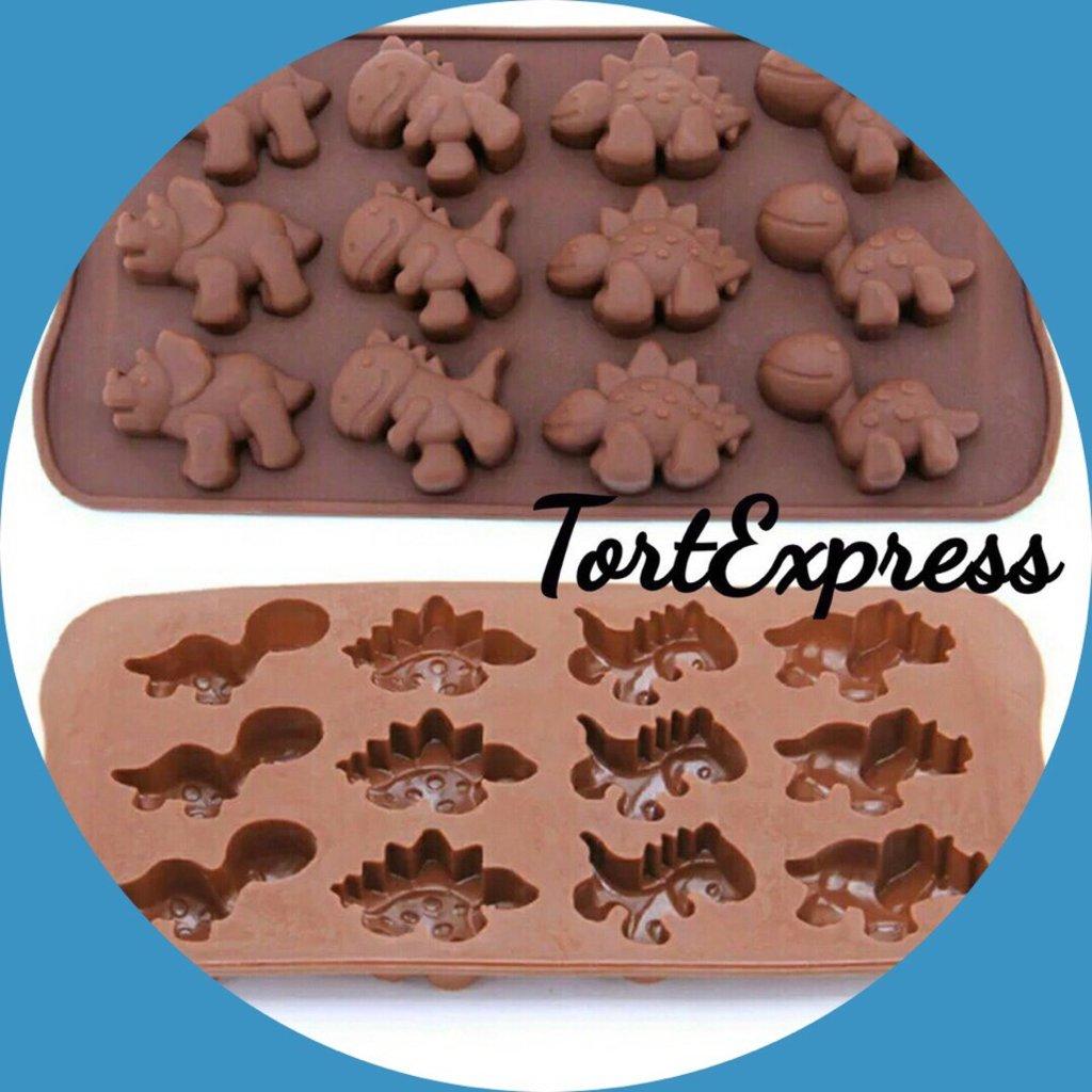 Силиконовые формы для льда, шоколада и мармелада: Силиконовая форма для льда и шоколада Дино 12 ячеек в ТортExpress