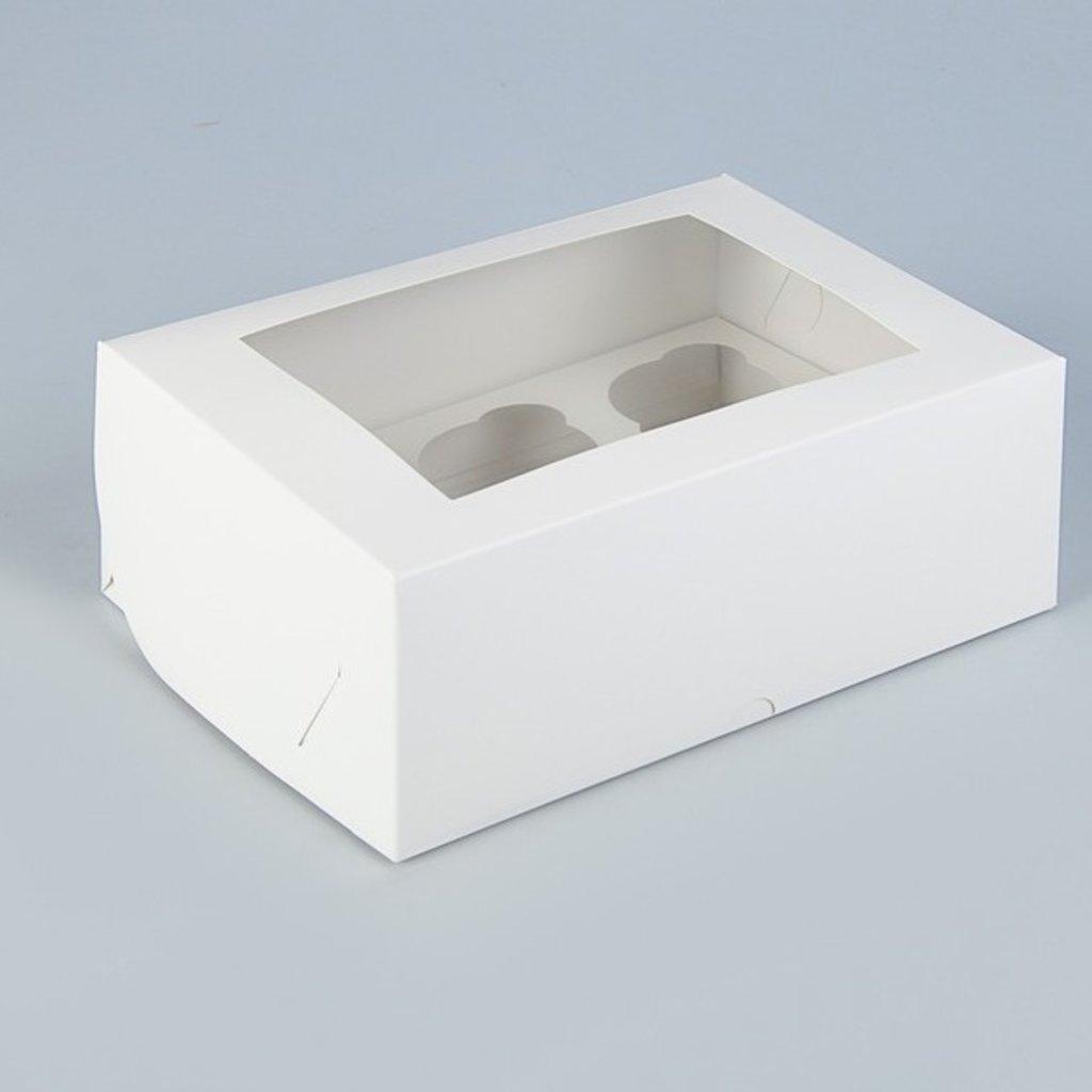 Коробки для капкейков: Упаковка на 6 капкейков с окном, 25 х 17 х 10 см в ТортExpress