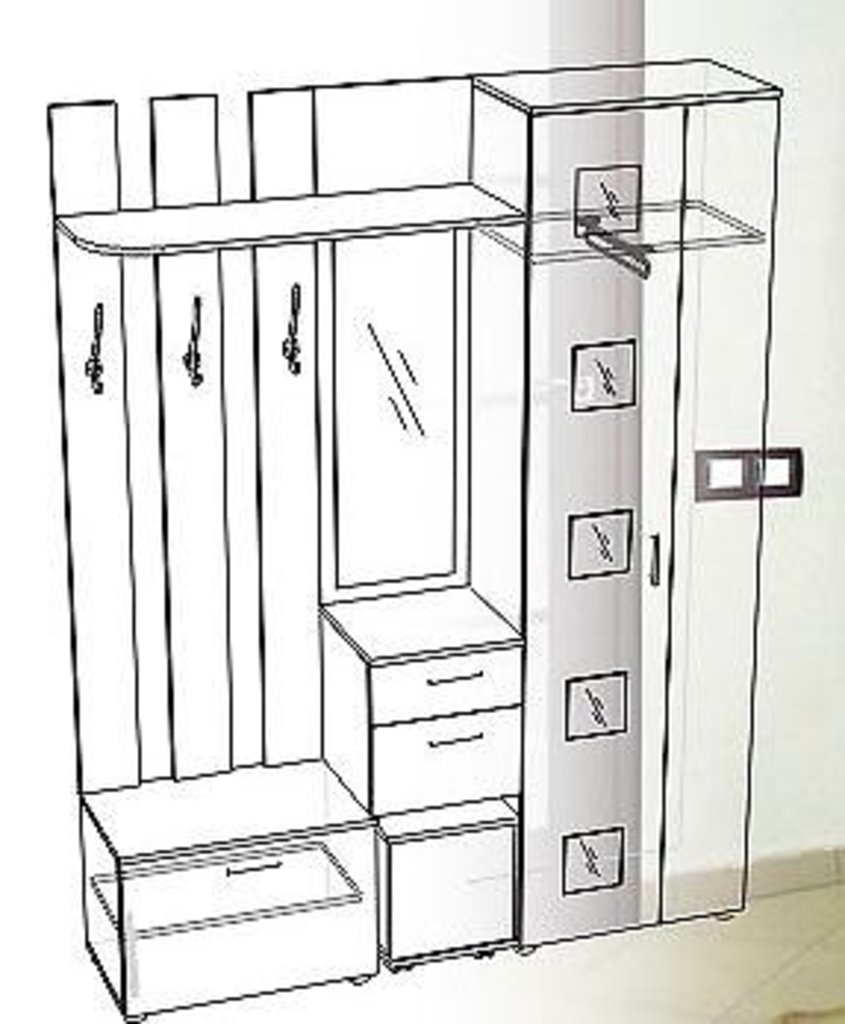Мебель для прихожих, общее: Прихожая Кристина правая (Линаура) в Стильная мебель