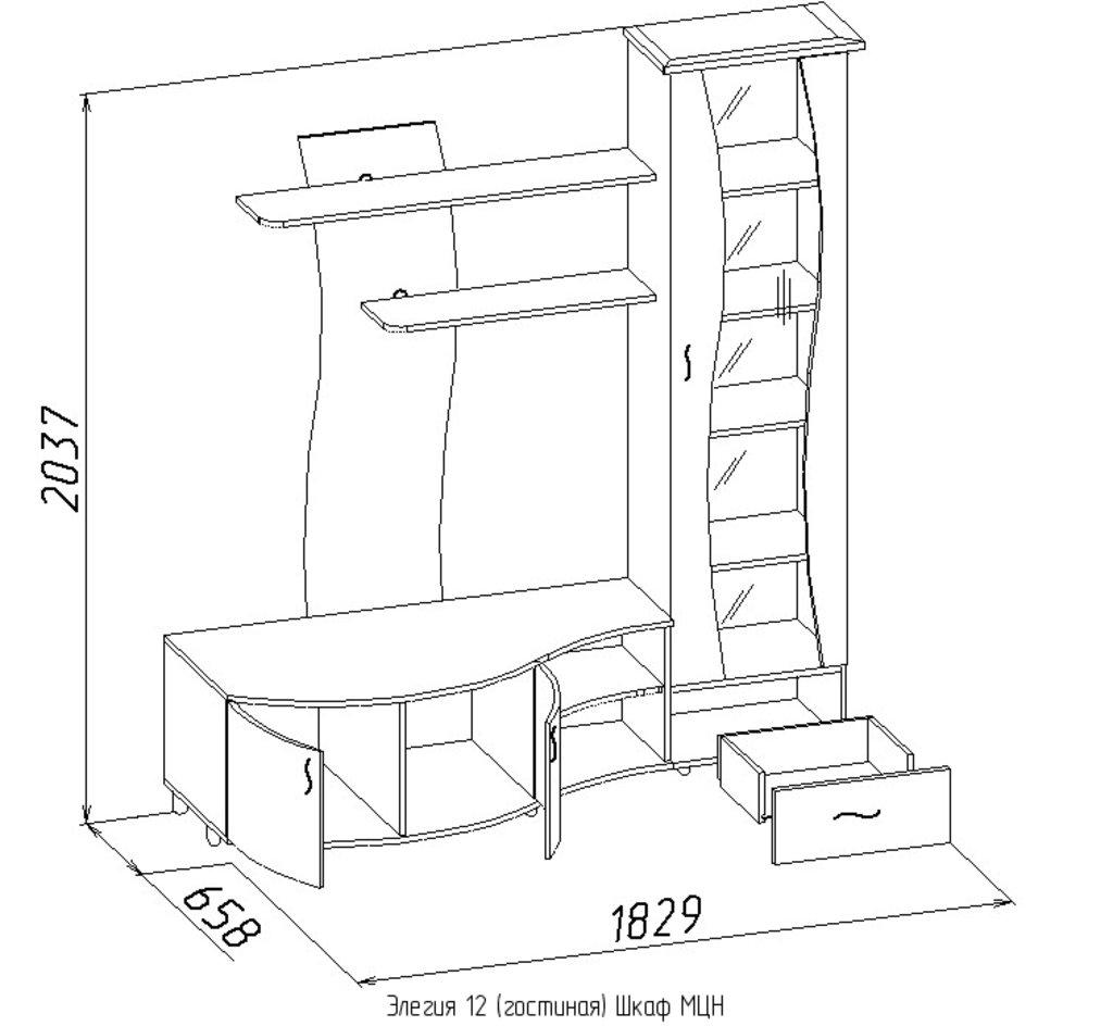 Шкафы, общие: Шкаф МЦН Элегия 12 в Стильная мебель