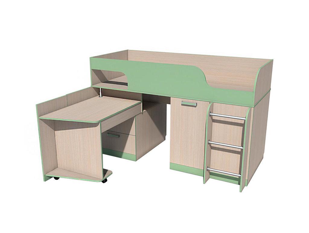 Детские и подростковые кровати: Кровать с поворотным столом НМ 011.55 ММ Рико-М (800x1900, усилен. настил) в Стильная мебель