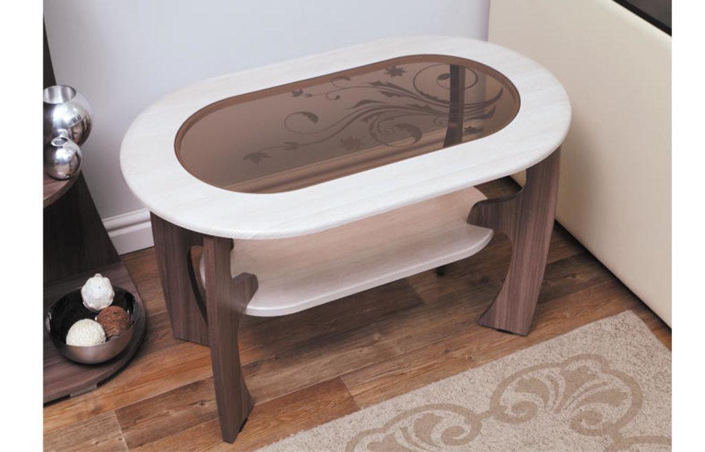 Столы журнальные: Журнальный столик Маджеста - 2 со стеклом и рисунком в Vesa