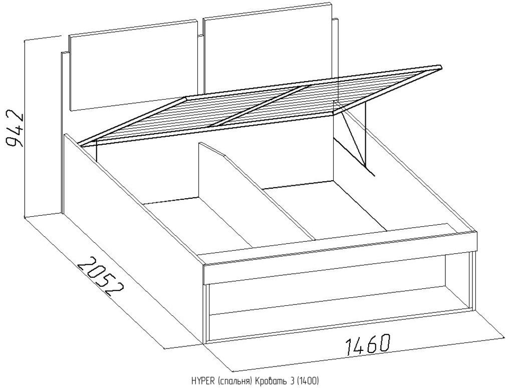 Кровати: Кровать Hyper 3 (1400, мех. подъема) в Стильная мебель