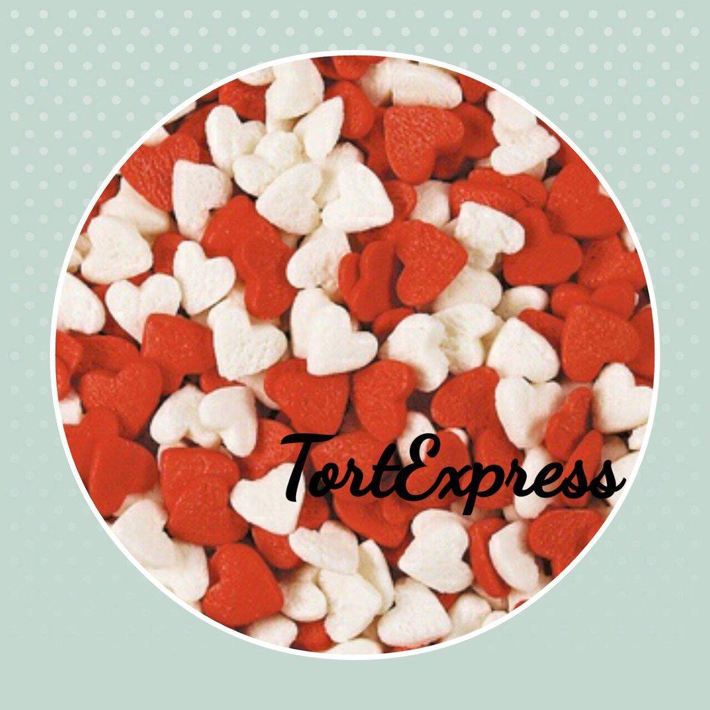 """Украшения, декор: Посыпка сахарная """"Сердечки красно-белые"""" 750г в ТортExpress"""
