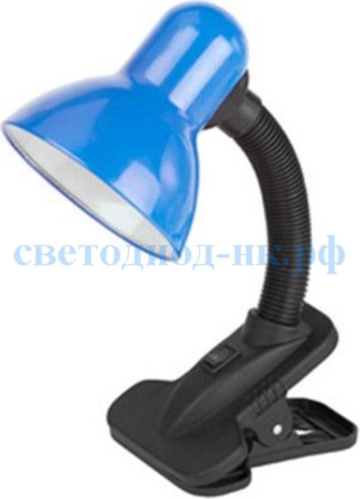 Настольные лампы, ночники: Лампа настольная синяя на прищепке в СВЕТОВОД