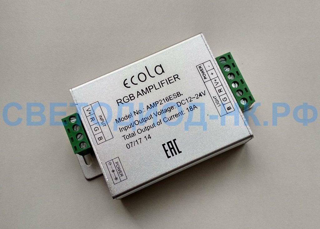Контроллеры, диммеры: Усилитель Ecola для RGB ленты 18A 216W 12V (432W 24V) AMP216ESB в СВЕТОВОД