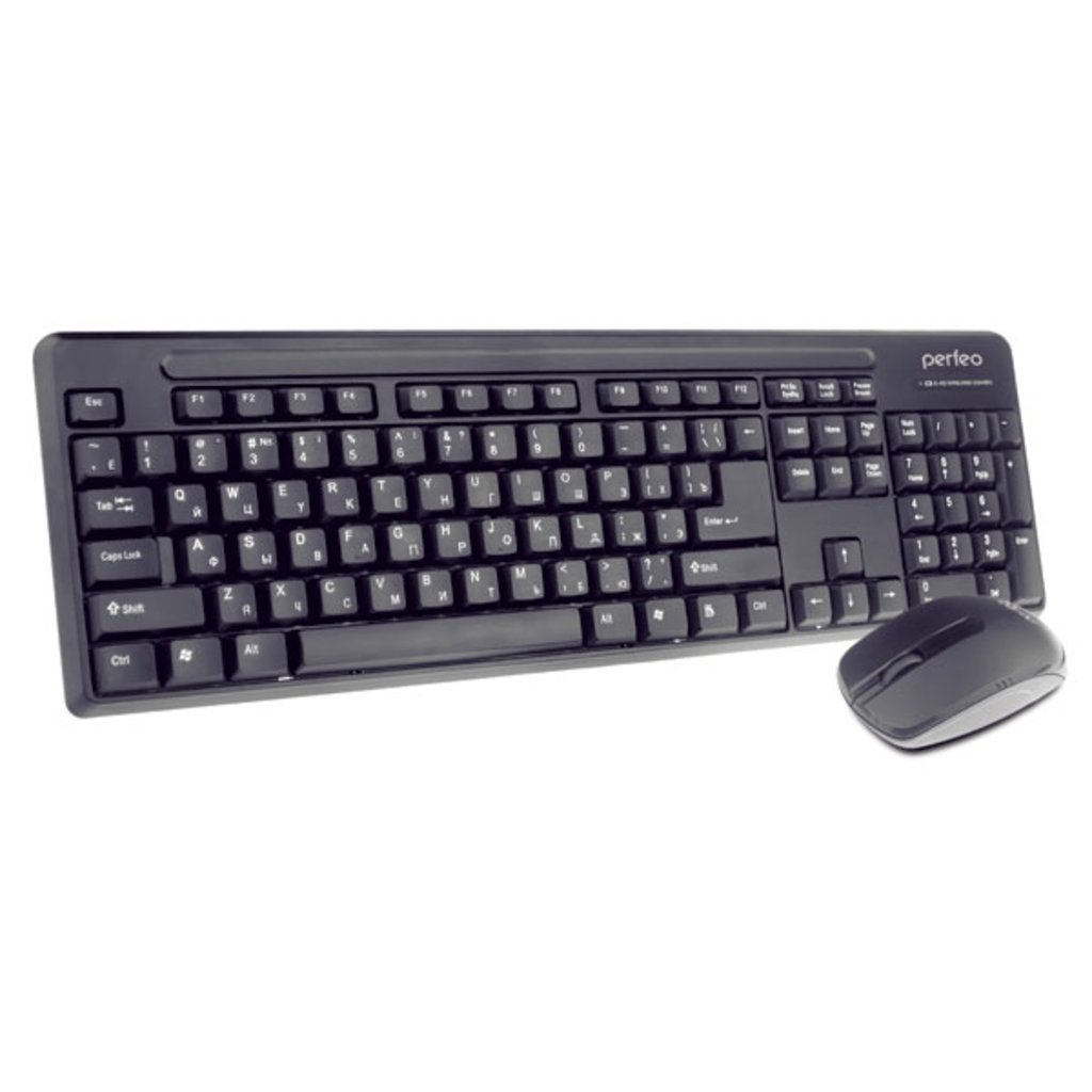 Мышки, клавиатуры, коврики, стилусы: Беспров. набор: клав. + оптич. мышь, USB ( Perfeo  PF-215-WL/OP ) в A-Центр Пульты ДУ