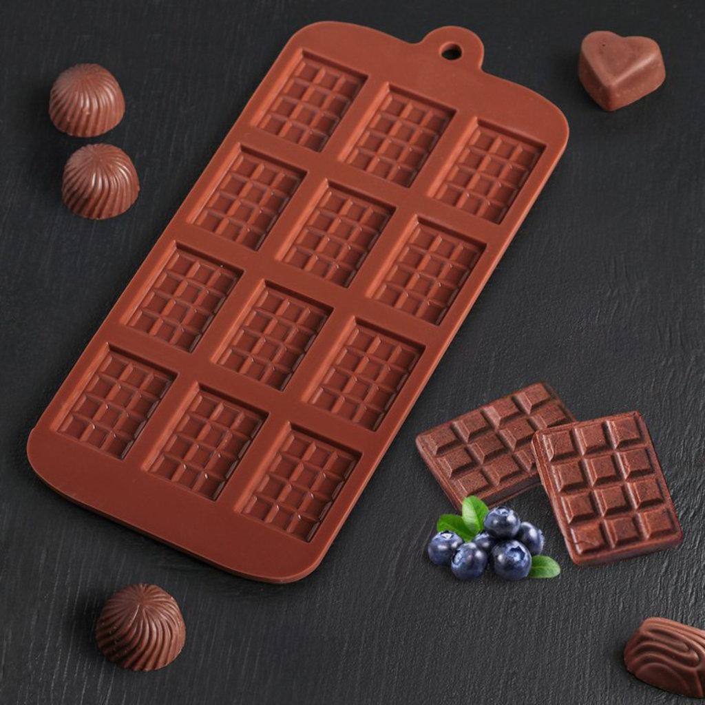 Силиконовые формы для льда, шоколада и мармелада: Форма для льда и шоколада Плитка 12 ячеек в ТортExpress