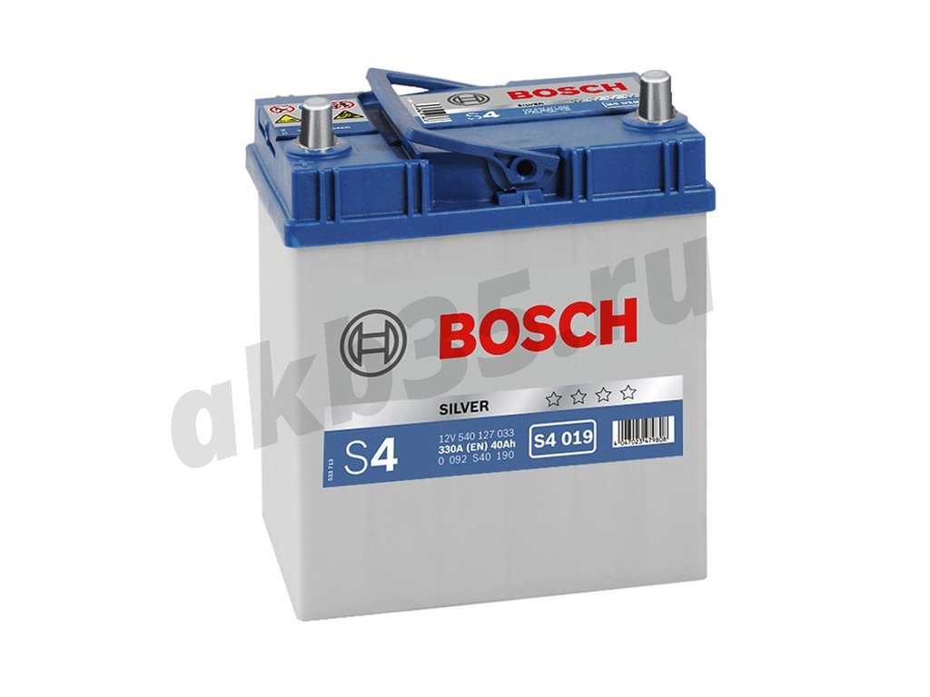 Аккумуляторы: BOSCH S4 019 Silver 6СТ-40 (127 033) /П.П./ в Планета АКБ