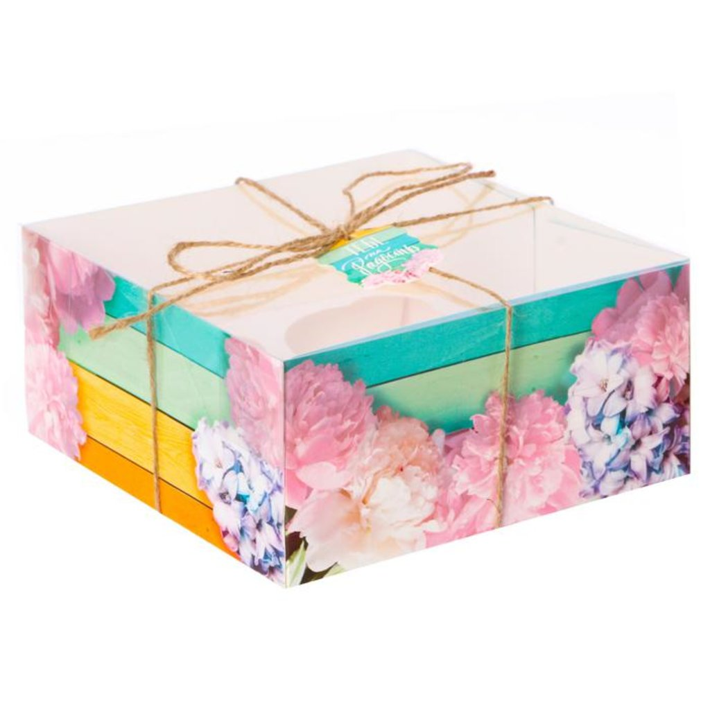 """Коробки для капкейков: Коробка для капкейка """"Яркий день!"""" 16х16х7,5 см в ТортExpress"""
