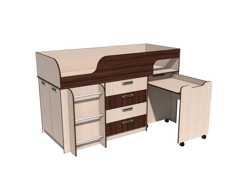 Детские и подростковые кровати: Кровать с выкатным столом НМ 011.56 Рико (800x1900, усилен. настил) в Стильная мебель