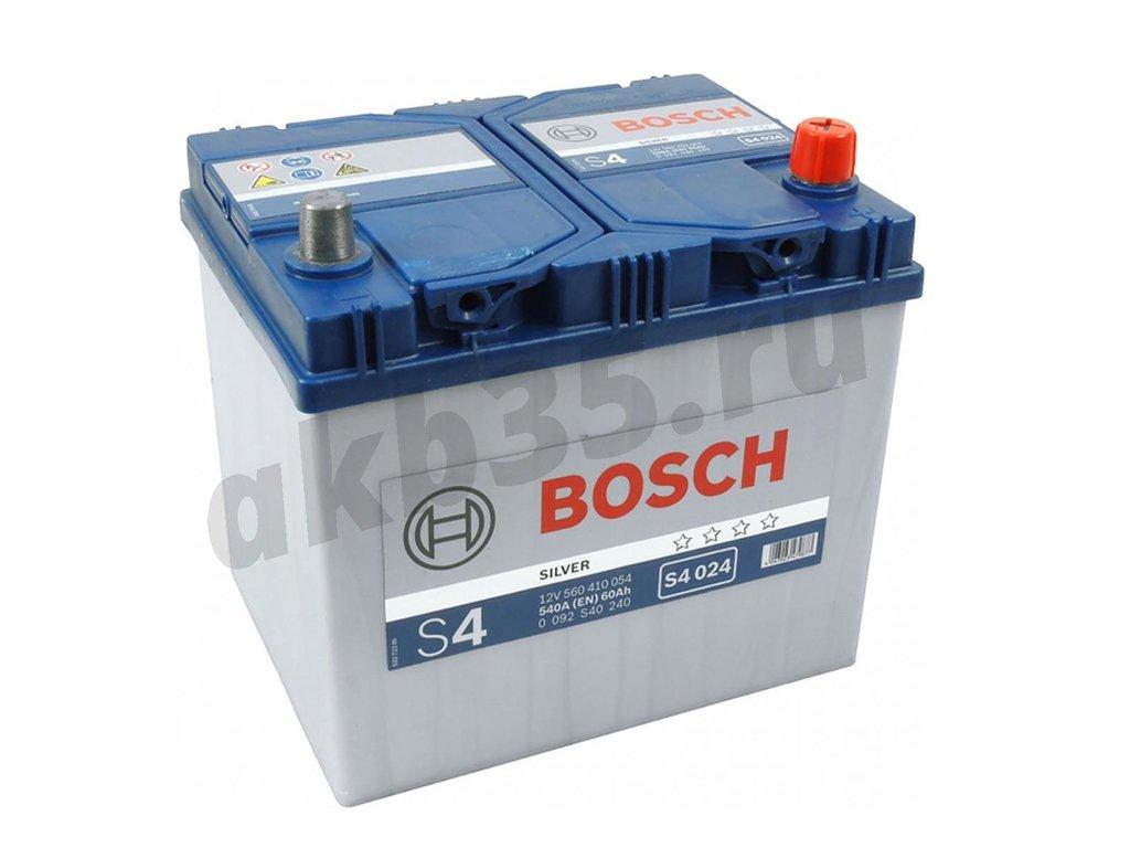 Аккумуляторы: BOSCH S4 024 Silver 6СТ-60 (410 054) /О.П./ Asia в Планета АКБ