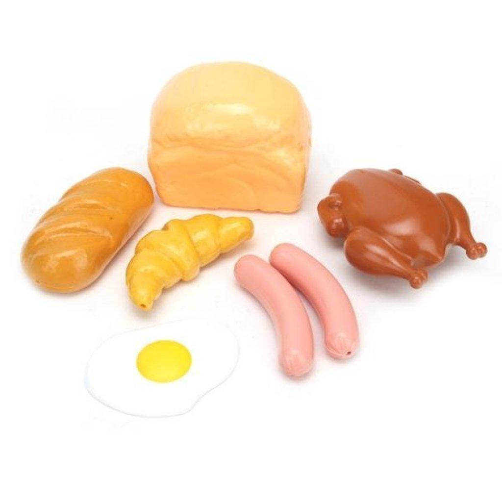 Игрушки для девочек: Набор Продукты (хлеб, батон, круассан, яичница, курица, сосиски) в Игрушки Сити