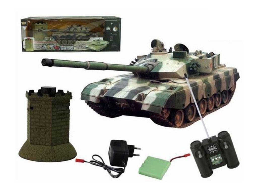 Игрушки для мальчиков: Танк р/у на аккумуляторах с зарядным устройством 6105-5 в Игрушки Сити