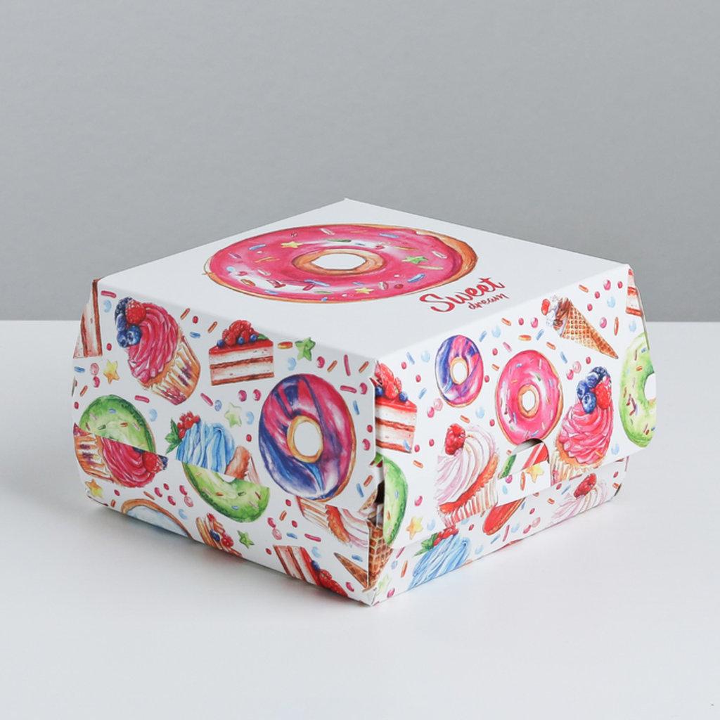 Коробки для кондитерских изделий: Коробка складная под десерт «Пончики», 12 × 7 × 12 см в ТортExpress