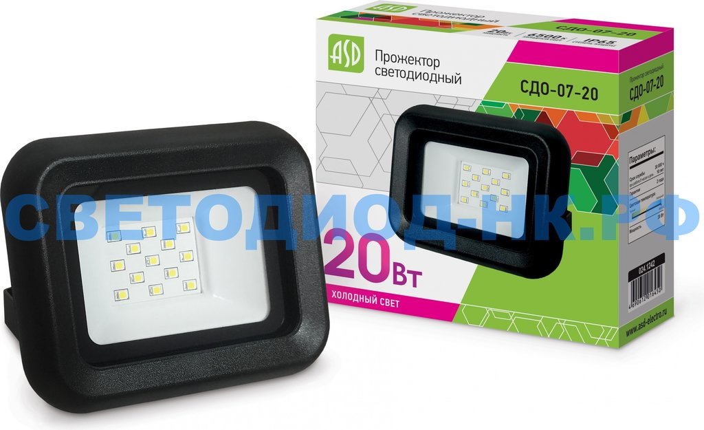 Светодиодные прожекторы: Прожектор светодиодный СДО-07-20 сд черный IP65 ASD в СВЕТОВОД