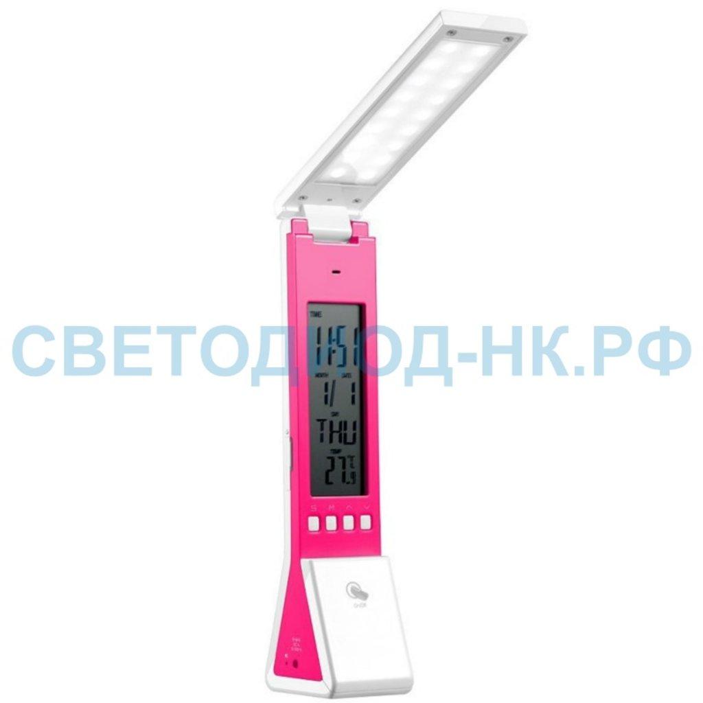 Настольные лампы, ночники: Светильник настольный 18LED-3LED 2W 5V розовый, жк дисплей, диммирование, часы, температура Feron в СВЕТОВОД