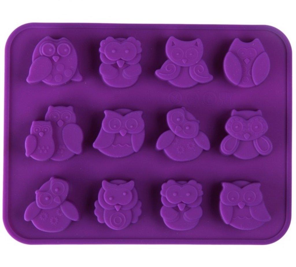 """Силиконовые формы для выпечки: Форма для выпечки, 12 ячеек, 15х19х1,5 см """"Совята"""", цвета МИКС в ТортExpress"""