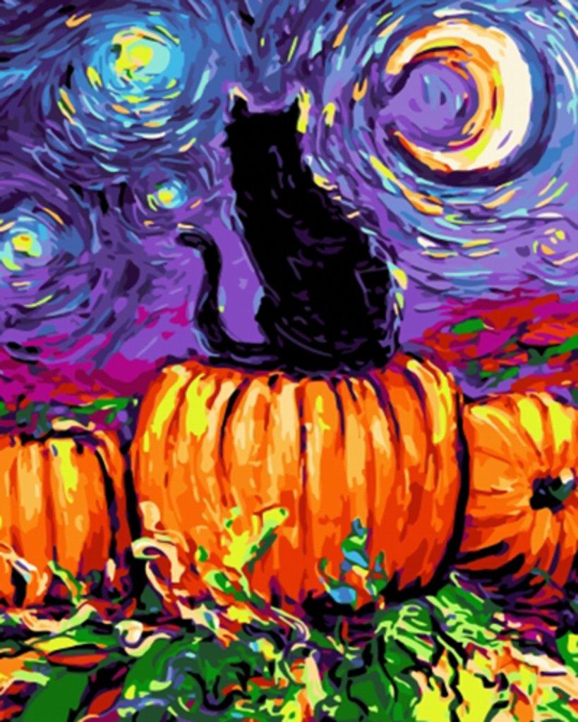 Картины по номерам: Картина по номерам Paintboy 40*50 Кот и тыквы Экслюзив! ОК10129 в Шедевр, художественный салон