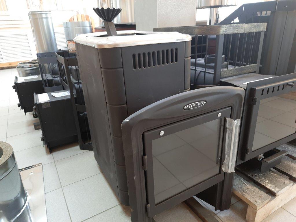 Печи и дымоходы: Печь для бани ТМФ  Гейзер 2014 Carbon Витра, закрытая каменка антрацит, конструкционная сталь 4-7 мм. в Погонаж