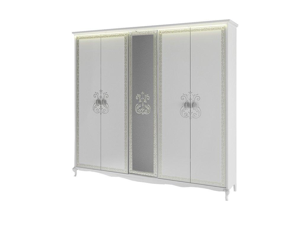 Шкафы для спальни: Шкаф 5-дверный Винтаж белый в Стильная мебель