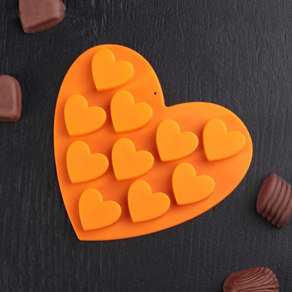 """Силиконовые формы для льда, шоколада и мармелада: Форма для льда и шоколада, 10 ячеек, 15х14,5х1,5 см """"Сердечки"""", цвета МИКС в ТортExpress"""