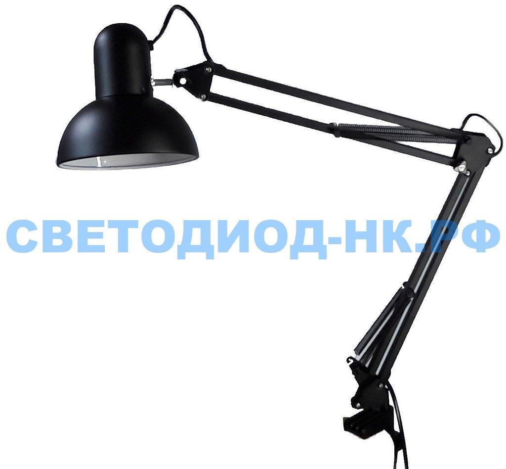 Настольные лампы, ночники: Лампа настольная Уютель UT-800В Е27 60W, черная, на струбцине, шнур 1,5м, 220V в СВЕТОВОД