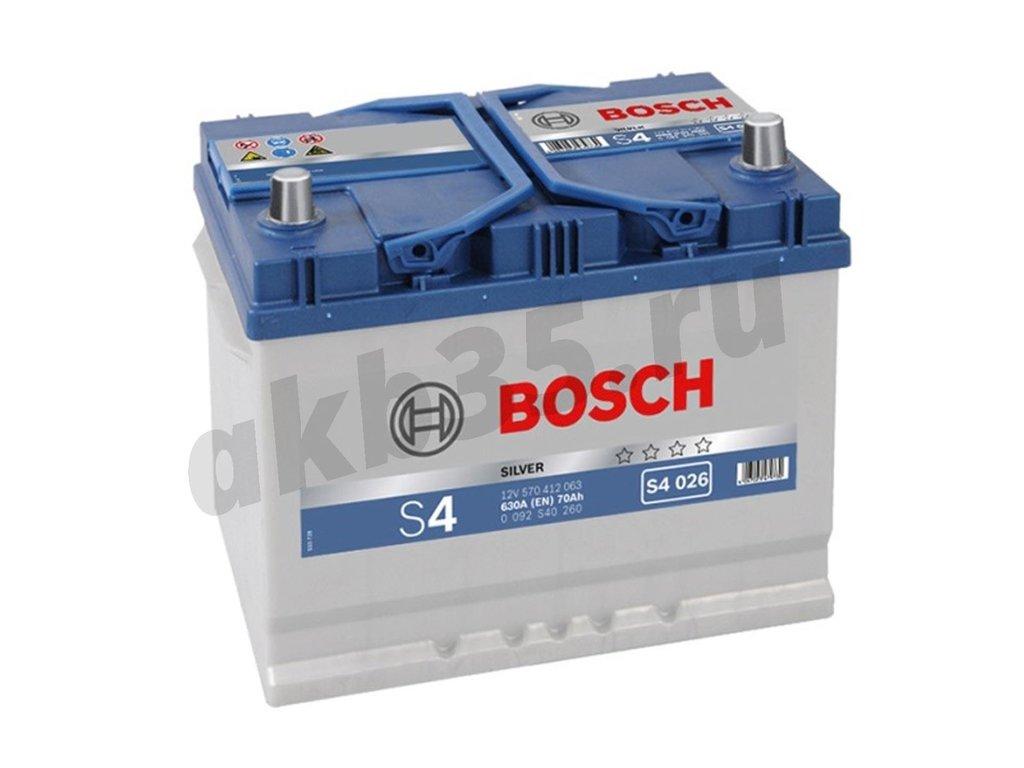 Аккумуляторы: BOSCH S4 026 Silver 6СТ-70 (412 063) /О.П./ в Планета АКБ