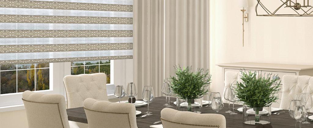 Рулонные шторы ЗЕБРА: Рулонные шторы UNI2-ЗЕБРА (BESTA) для пластиковых окон с любой глубиной штапика в Салон штор, Виссон