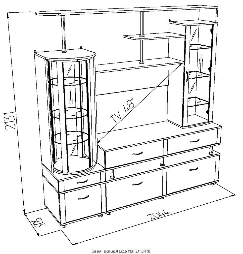 Шкафы, общие: Шкаф МЦН 23 Элегия в Стильная мебель