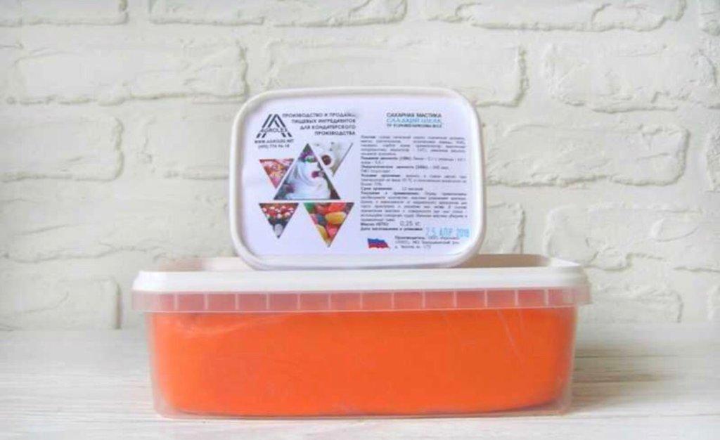 Ингредиенты: Мастика сахарная для обтяжки Сладкий шелк Оранжевая в ТортExpress