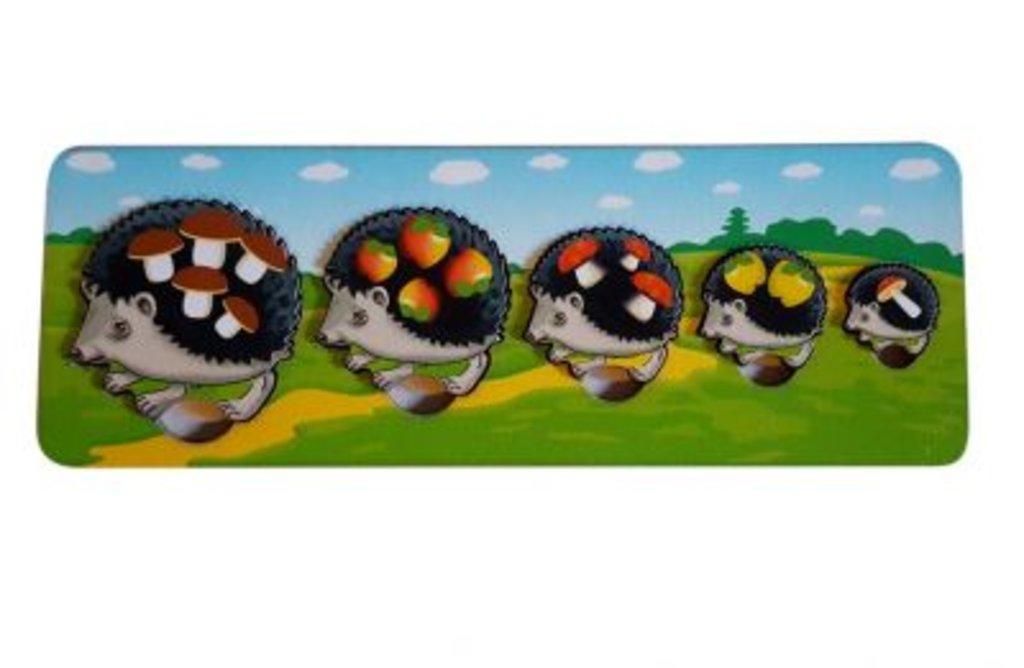 Игрушки для малышей: Нескучные игры 7934 ДНИ Пазл-рамка для малышей Ежики (цветной фон) 29,5х10,5 в Игрушки Сити