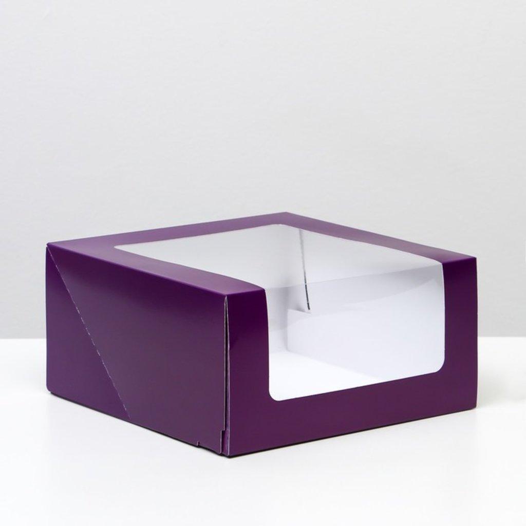 """Коробки для тортов: Кондитерская упаковка с окном """"Мусс"""", фиолетовая  23,5 х 23,5 х 11,5 см в ТортExpress"""