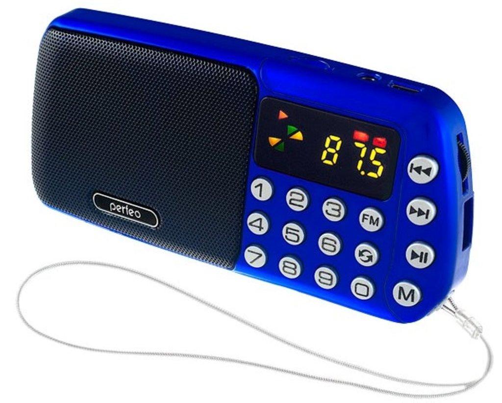Радиоприёмники: Perfeo мини-аудио СИНИЦА FM, MP3 USB/TF, часы, Repeat, цифровые кнопки, USB/1200mAh, синий (i70-BL) в A-Центр Пульты ДУ