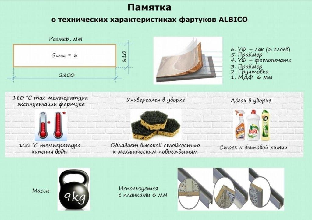Фартуки ЛакКом 6 мм. с тиснением: Олио / тиснение кирпич в Ателье мебели Формат