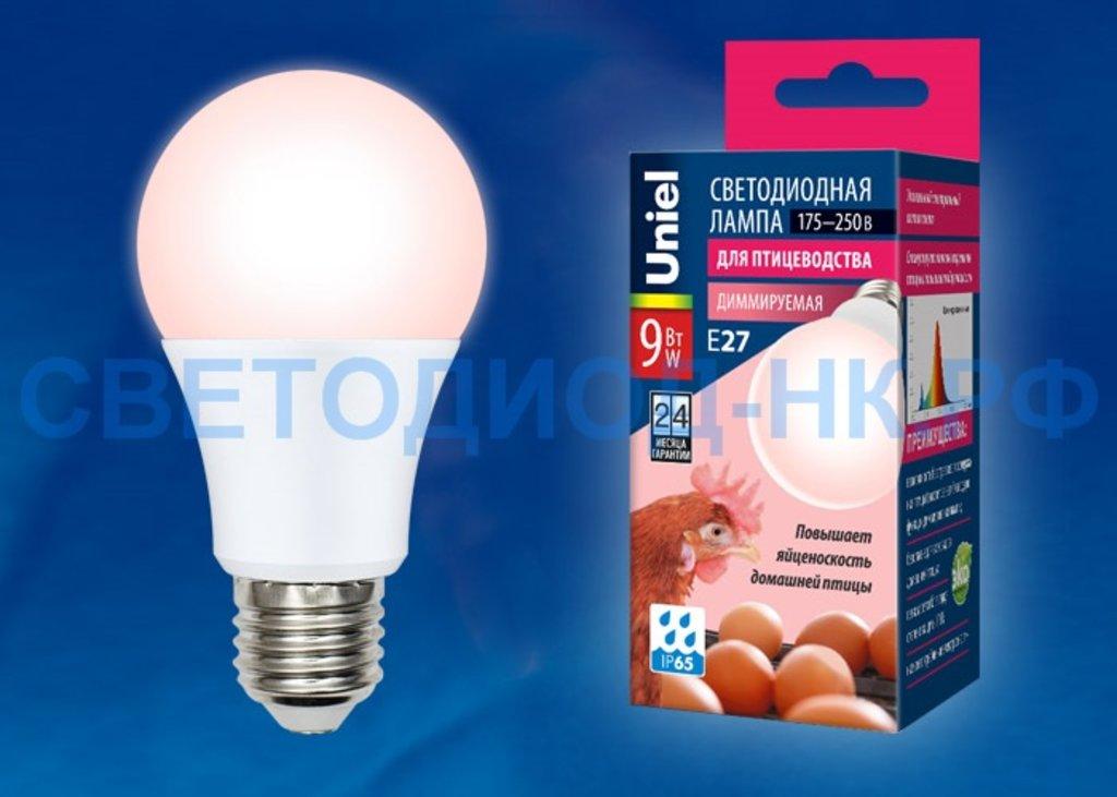 Для профессионального использования: Светодиодная лампа Uniel димм. для яйценоскости E27 9W(450lm) 60x110 LED-A60-9W/SCEP/E27/FR/DIM IP65 в СВЕТОВОД