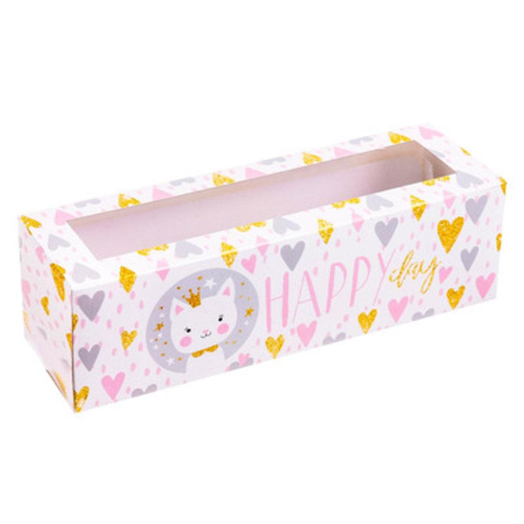 Упаковка: Коробочка для макарун Happy day, 18 х 5,5 х 5,5 см в ТортExpress