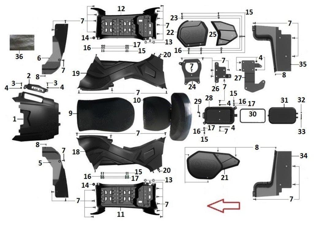 Запчасти для техники PM: Подножка правая R40700021 в Базис72
