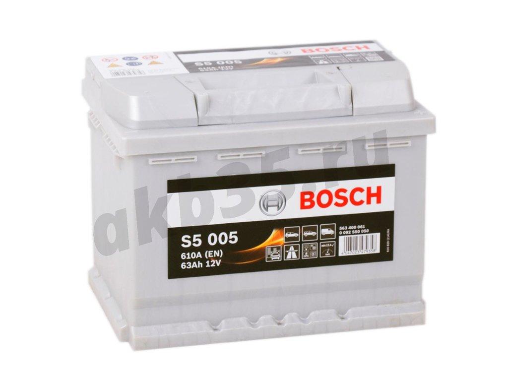 Аккумуляторы: BOSCH S5 005 Silver 6СТ-63 (400 061) /О.П./ в Планета АКБ