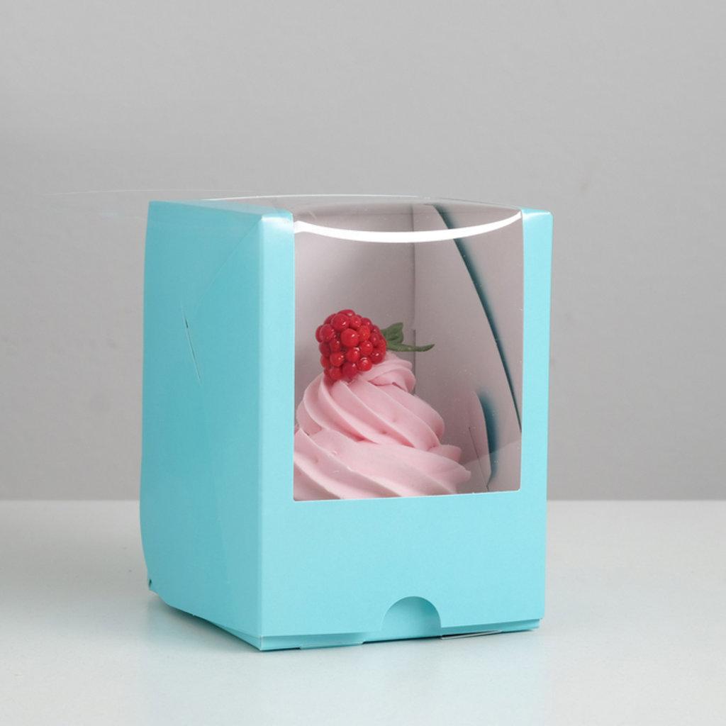 Коробки для капкейков: Упаковка под один капкейк с окном, голубая 12,5 х 9,5 х 9,5 см в ТортExpress