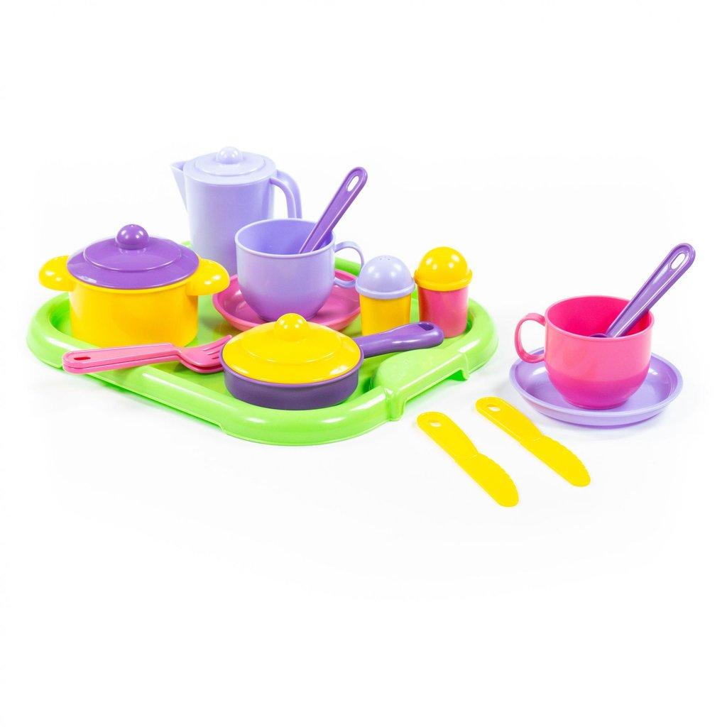 Игрушки для девочек: Набор детской посуды Хозяюшка с подносом на 2 персоны Полесье в Игрушки Сити
