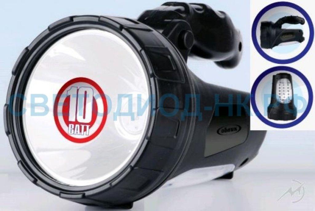 Светодиодные фонари, пушлайты: Облик фонарь-прожектор 8227 (акк. 4V 2Ah) 1св/д 10W+15св/д, черн/пласт, вращ. ручка, з/у 220V+автоЗУ в СВЕТОВОД