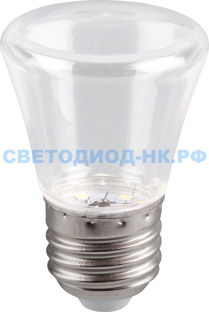 Цветные лампы: Светодиодная лампа LB-372 (1W) 230V E27 6400K для белт лайта С45 колокольчик прозрачный в СВЕТОВОД