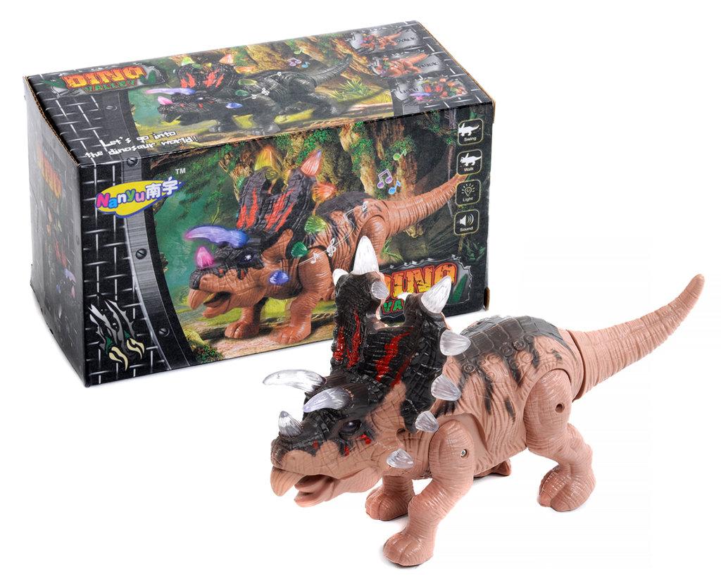 Игрушки для мальчиков: Динозавр на батарейках двигается, звуковые и световые эффекты в Игрушки Сити
