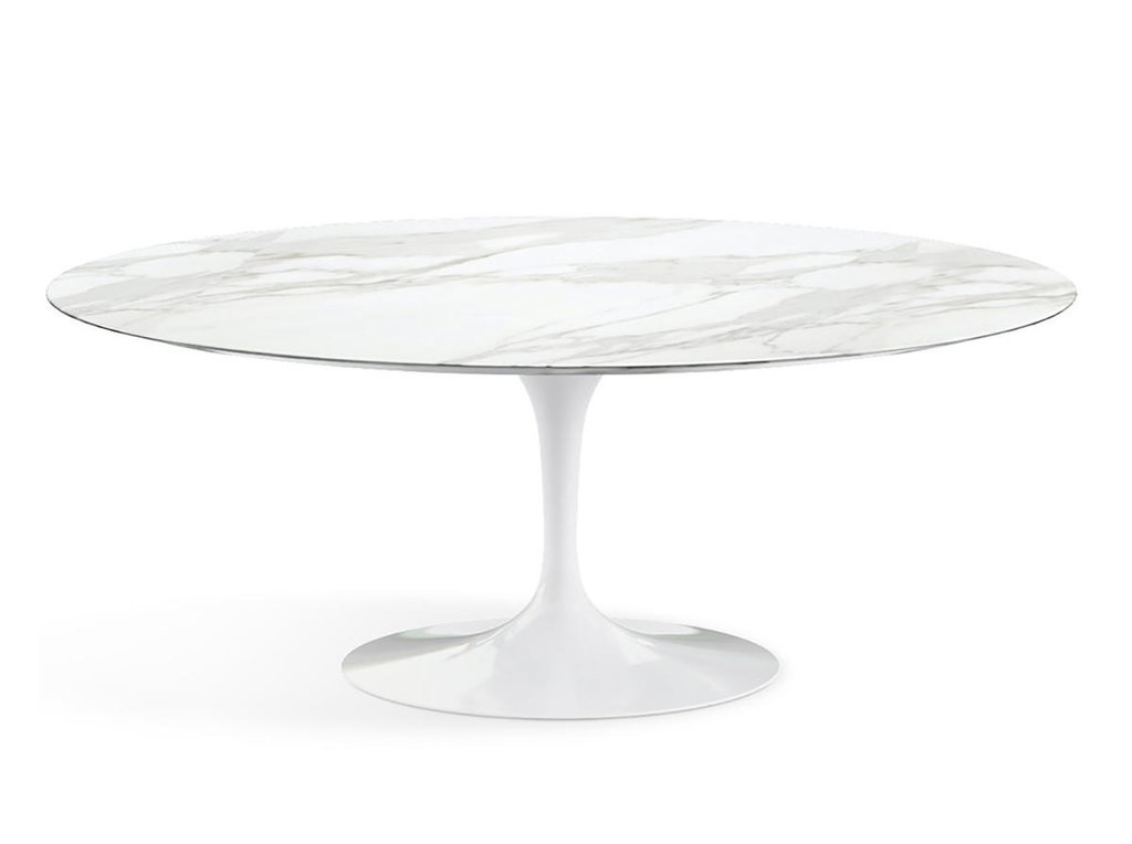 Столы обеденные: Стол обеденный Априори T овальный 100х180 13т мрамор белый в Актуальный дизайн
