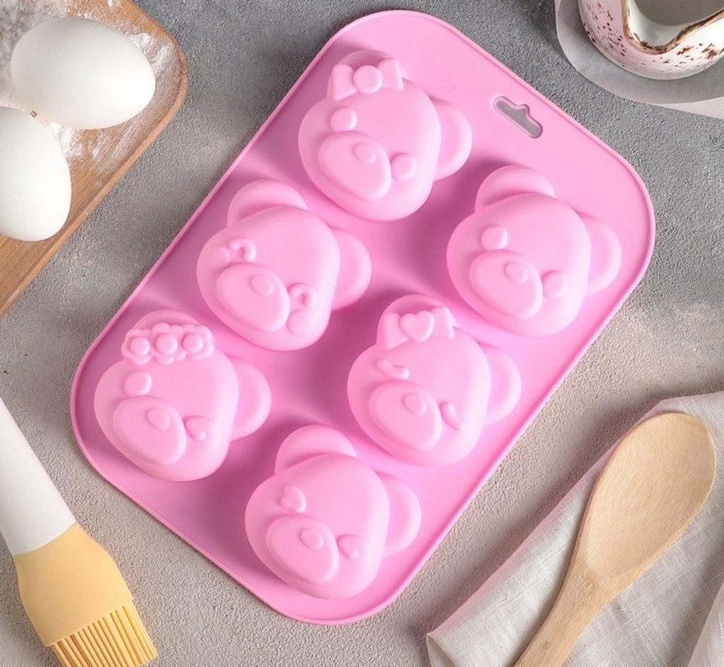 """Формы: Форма для выпечки """"Животные. Гламурные мишки"""", 6 ячеек, 24х16,2х3,5 см в ТортExpress"""