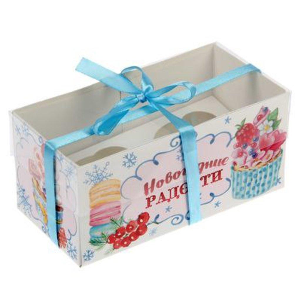 """Упаковка: Коробка для 2 капкейков """"Новогодние радости"""" в ТортExpress"""